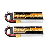 Youme Batería de 11.1V LiPo, 3S RC Lipo Batteries 4500mAh 60C con Enchufe XT60 para RC Car/Truck, Buggy, Boat, Heli y Drone (2 Paquetes)