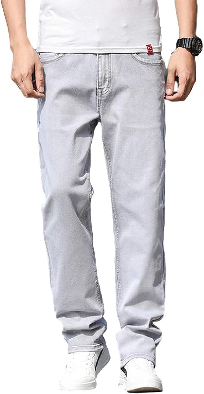 Mens Stretch Straight Leg Regular Fit Classic Basic Denim Jean, Summer Thin