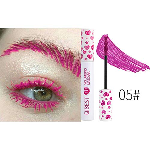 MeterMall Fashion For Color Mascara Waterproof Long-lasting Curl Slender Cosplay Eyelash Extension 5# rose red