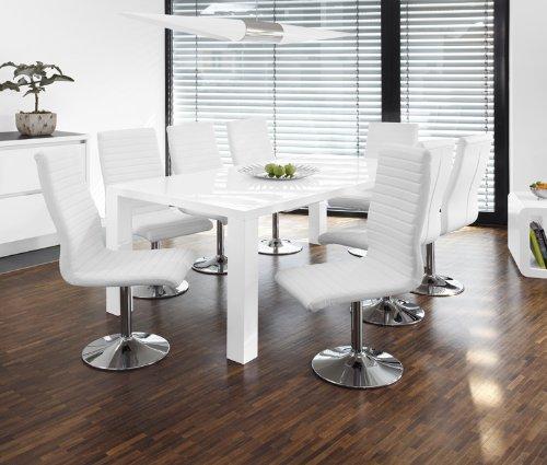 Esstisch-Gruppe weiß Hochglanz 200x100 cm recht-eckig mit 8 Lio Kunst-Leder Stühlen | Luca | Essgruppe Weiss mit 8 schwarzen Stühlen | Designer Tischgruppe mit ESS-Tisch weiß lackiert 9 TLG.