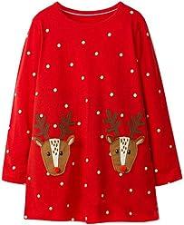 Mud Kingdom Little Girl Christmas Dress Cute Reindeer