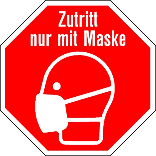 Aufkleber Zutritt nur mit Maske (5, 15cm eckig)