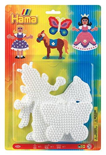 Hama 4560 - Blisterpackung große Stiftplatten, Prinzessin, Pferd, Schmetterling, 3 Stück