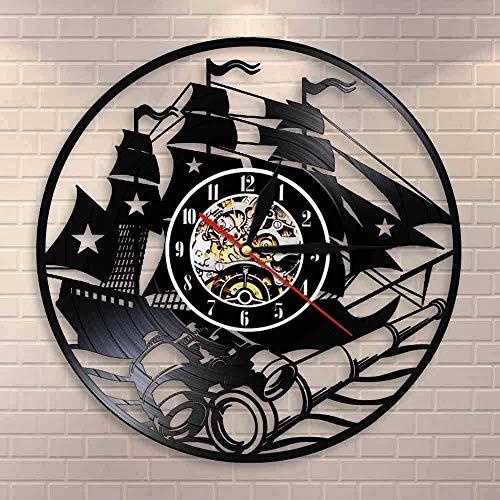 WTTA Velero Pared Arte diseño de Yates hogar Dior Reloj de Pared Barco Vintage Disco de Vinilo Reloj de Pared Escena Costera telescopio Reloj de Pared con LED