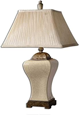 Bedside Lamp Living Room Bedroom Bedside European And American Ceramic Luxury Table Lamp Retro Table Lamp (Color : Natural, Size : 32x65cm)
