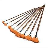 Juego de pinceles para pintar abanicos de nailon marrón, herramienta de dibujo de acuarela, tubo de aleación de aluminio, 9 unidades