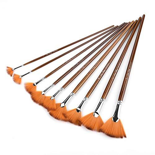 Pincel para pintar, 9 Piezas Herramienta de pintura para arte profesional Manija de madera duradera Tubo de aleación de aluminio Marrón Nylon Abanico para el cabello Lápiz en forma