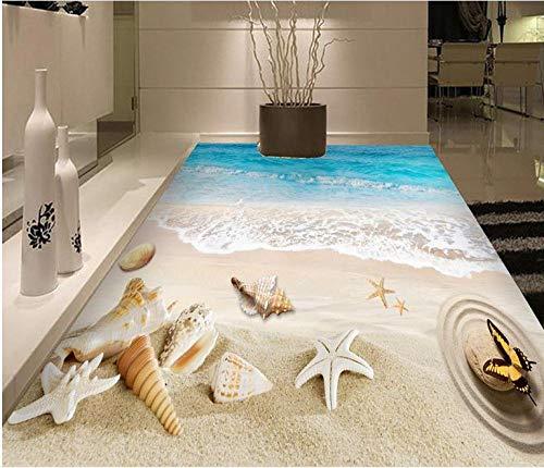 Romantic 3d Floor Wallpaper Beach conch 3d-room-wallpaper Vinyl Floor Tiles Wallpaper-self-adhesive-250x175cm
