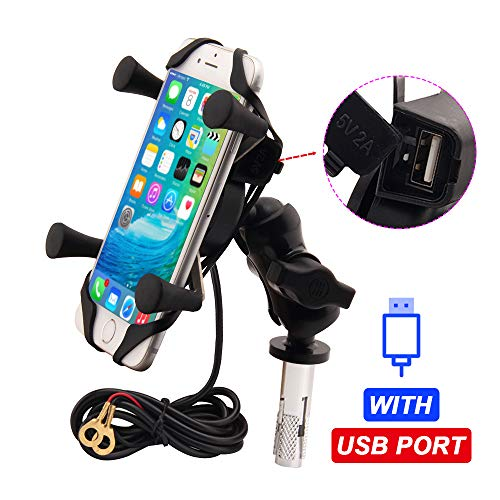 Motorcycle Phone Mount with USB Charger Grip Mobile Phone holder GPS Navigation Bracket for Suzuki GSX-R 600 750 1000 GSX 1300R Hayabusa BMW S1000RR Yamaha YZF Kawasaki Ninja Honda CBR Accessories