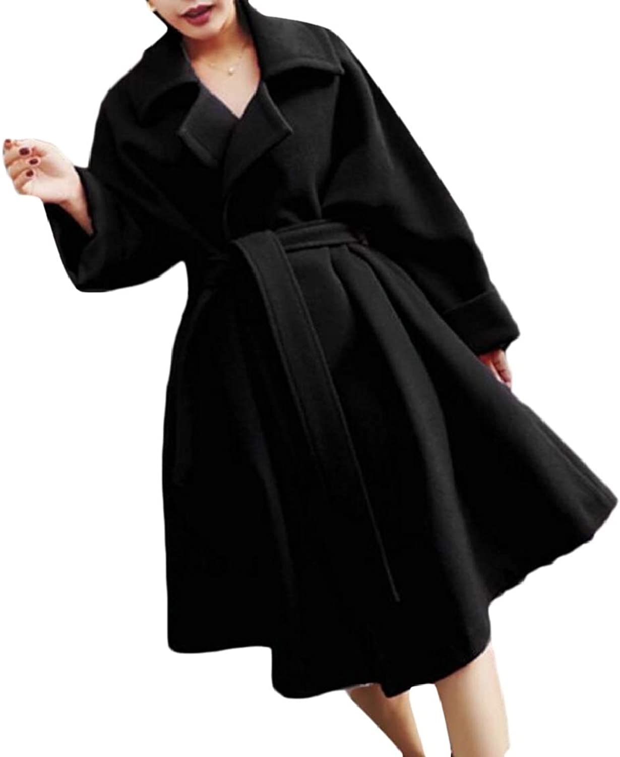 QDCACA Womens OpenFront Fashion Mid Long Woolen Swing Belted Jacket Coat