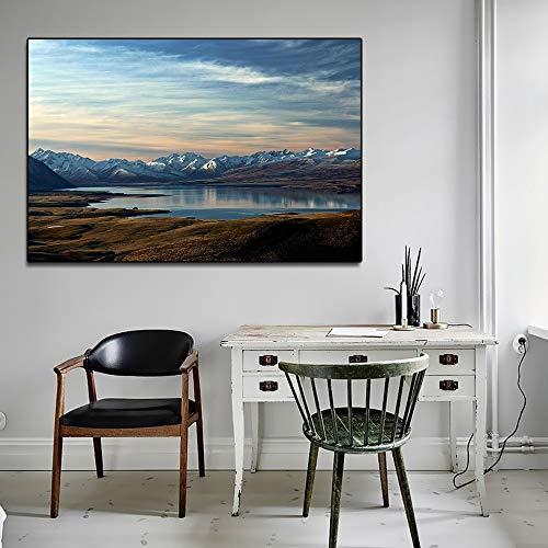 Scandinavisch modern landschap mooie Zuid-eiland poster en afdrukken canvas muurkunst afbeelding voor woonkamer decoratie lijst zonder lijst