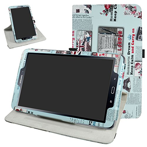 "TAB A 10.1 2016 Rotating Case,Mama Mouth 360 Degree Rotary Stand with Cute Cover for 10.1"" Samsung Galaxy TAB A 10.1 T580 T585 Android Tablet 2016,Newspaper"