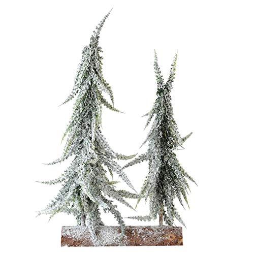 NUOBESTY Artificial Pencil Christmas Tree Mini Snow Flocked Pine Cone Árbol de...