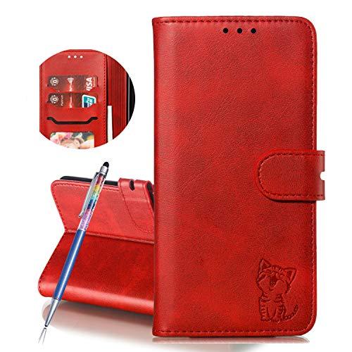 Finemoco Hülle für Huawei Y7 2018,Honor 7C Hülle Leder Handyhülle Flip Hülle Premium PU mit Brieftasche Schutzhülle Rot Katze Folie Cover Silikon Bumper 360 Grad Handy Tasche Magnetisch Standfunktion
