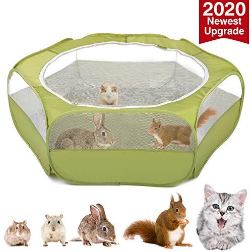 VavoPaw Kleintiere Laufstall, 190T Polyestertaft Atmungsaktiv Netz Visuell Reißverschluss Haustier Käfig Faltbare Wasserdicht Übungszaun für Kätzchen Welpen Kaninchen Hamster - Avocado Grün
