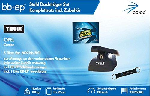 BB-EP/Thule 9003553848Productos Letter Premium Acero Baca para Opel Combo 5Puertas Van 2002hasta 2011–Juego Completo de cerradizo–Incluye Llave de Banda y Insect Erase