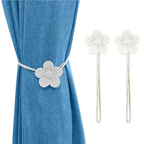 Lewondr Vintage Magnetischer Vorhang Raffhalter, 1 Paar Harz Blume Vorhangschnalle mit starkem dauerhaftem Magneten für Dekoration Zuhause Cafe Büro - Weiß