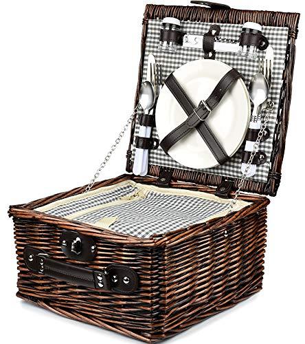 Bingo-Shop Picknickkorb für 2 Personen Inklusive Bestecksets, Korkenzieher, Weingläser und Keramikteller - 29 x 18 x 30cm Picknickkoffer Picknickset Picknick Korb Weiß Grün Innenstoff