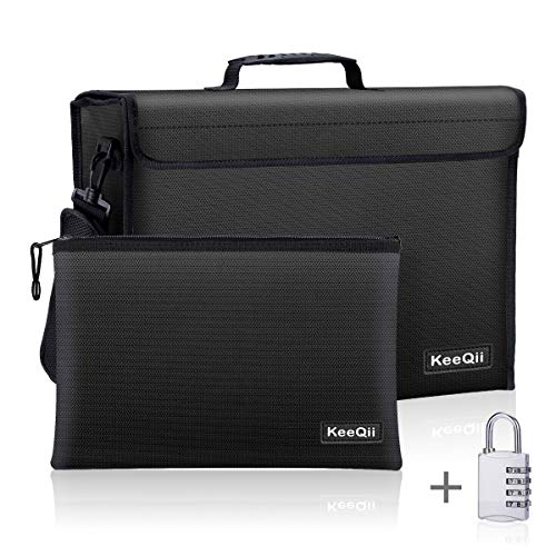 KeeQii Fireproof Bag,17 x 12 x 5 inch Large Fireproof Document Bags, Waterproof and Fireproof Lock Box Safe Bag for Document, Laptop,Money and Valuables with Zipper Closure