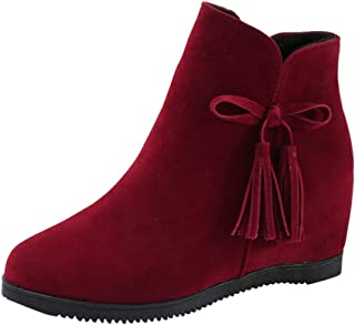 Sunsee Women Western Reception Enchanting Suede Wedges Zipper Tassel Ankle Boots Casual Shoes Lace-up Boots