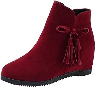 JESPER Women Cute Suede Wedges Ankle Boots Zipper Tassel Casual Shoes Bow Tie Booties