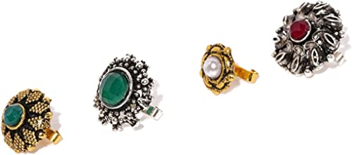 Combo Of 4 Antique Adjustable Nose Pin For Women ZPFK8493