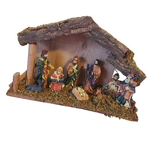 Ljourney Krippe: Hochwertige Holz-Weihnachtskrippe, Große Handbemalte Porzellan-Figuren (Krippe Mit Handbemalten Figuren)