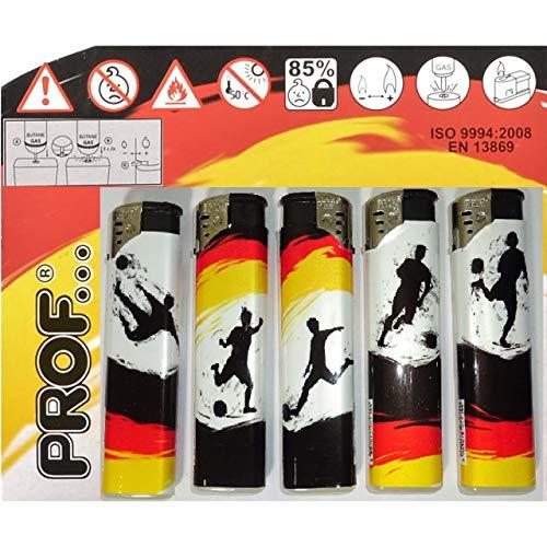 Unbekannt 5X nachfüllbares Elektro Feuerzeug Prof Fussball Deutschland elektrisch Kindersicherung