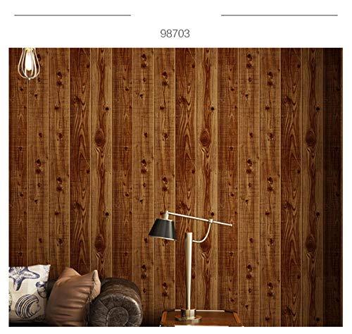 Carta da parati PVC Pavimento in legno in stile cinese retrò legno venatura del legno ottica 0,53x9,5 m Impermeabile e antivegetativa Carta da Parati domestica priorità bassa della camera - Marrone