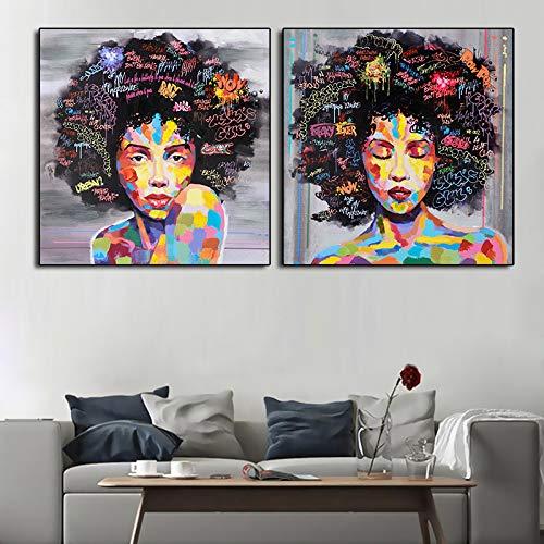 ganlanshu 2pcs Mujer Africana Arte de Pared Cuadro en Lienzo Cuadros e Impresiones Decoración del hogar Cuadros para Sala de Estar,Pintura sin Marco,70x70cmx2