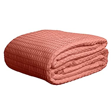 Deluxe 100% Soft Cotton Thermal Waffle Weave Blanket - KING Size - ROSE