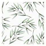 Vinilo Adhesivo para Muebles y Pared, 45 x 200 cm, Hojas de Bambú, Color Verde, Fondo Blanco, VNL-039