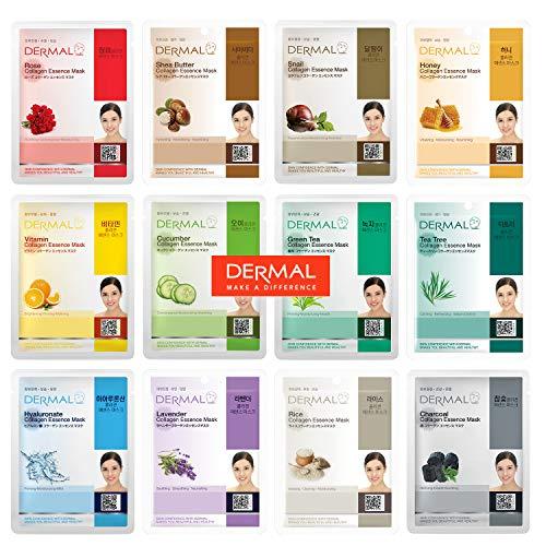 DERMAL 12 Pack Combo Best Value Set Collagen Essence Mask Sheet | Sodium Hyaluronate & Hydrolyzed Collagen Nature Made Fresh Mask | Paraben-Free | Best Korean Skin Care Mask