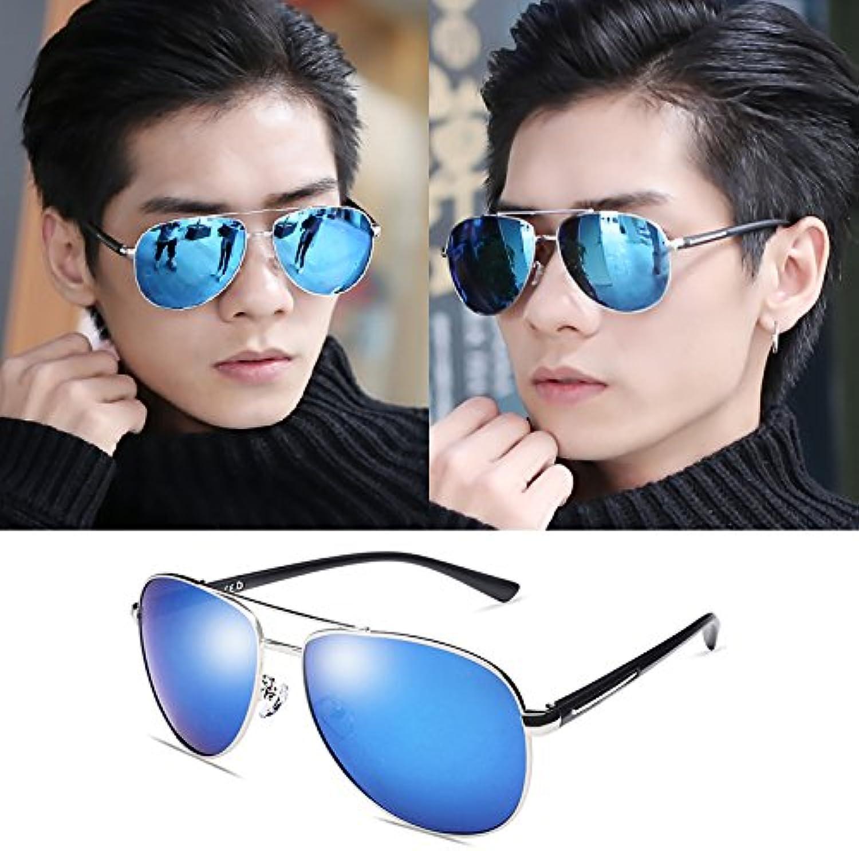 Polarized sunglasses, driver sunglasses, beach tourist glasses, men and women glasses, reflective refracting mirrors, tidal sunglasses,,Silver bluee Box
