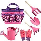 QWKIT Kids Gardening Set 7Pcs Gardening Tools for Kids with Watering Can, Gardening Gloves, Rake, Trowel, Fork, and Storage Bag Gardening Gifts for Children Toddler (Pink)