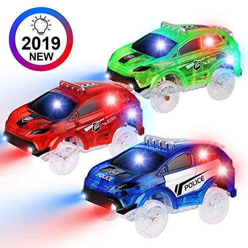 PROACC 3 Stück Track Cars Race Cars Autorennbahn Spielzeug Auto Rennwagen mit 5 LED Blinklichtern Magic Toys Childs Geschenke für Alter 3 4 5 6 7 Kinder