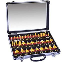 "35 piece 1/4"" router bit set for use in woodworking"