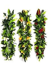 Hawaiian Luau Leis Tropical Luau Leaf Leis,Flowers Leis for Graduation,Summer Party,Luau Party Favors (3 Pack)