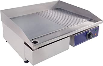 TAIMIKO Commercial Electric Griddle Flat Top Grill HotPlate Kitchen Grill CounterTop Stainless Steel Thermostatic Control 3000W 22
