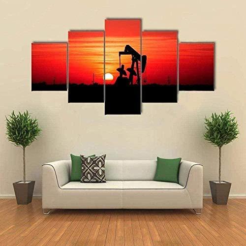 NC56 5 aufeinanderfolgende Bilder Bilder Kunst Home Wände Leinwand Sonnenuntergang und Ölfeld Pump Jack Artwork Modern Home Decor Gerahmte Galerie Wrapped Poster und Drucke 150x80cm Rahmen