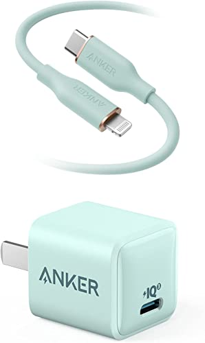 wholesale Anker Powerline III Flow, lowest USB C to Lightning Cable [MFi Certified, 6ft, Mint Green] & Anker Nano Charger, PowerPort III for iPhone discount 12/12 Mini/12 Pro/12 Pro Max/11, Galaxy, Pixel 4/3, iPad Pro sale