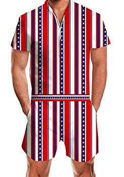 RAISEVERN Men s Rompers Male Zipper Jumpsuit Shorts American Flag Independence Day 4th of July One Piece Romper Patriot Striped and Stars Slim Fit Bro Short Sleeve Shirt Outfits