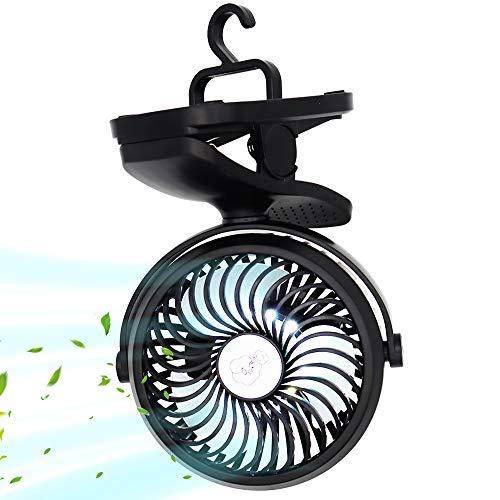 Ventilatore Portatile da Campeggio, Ventilatore USB, Ventilatore da Tavolo con Luce LED, 2200mAh, 3 velocità Rotazione 360 ° Mini Ventilatore Personale per Casa, Esterno, Ufficio, Campeggio