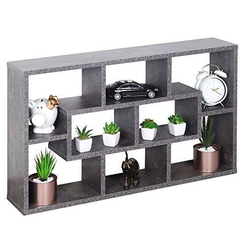 RICOO WM050-BG Wandregal 85x48x16 cm Holz Dunkel Beton-Grau Schmal Mini Hänge-Regal Wand Bücher-Regal Schwebe-Regal Stand-Regal Eck-Regal