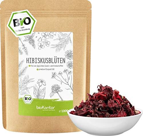 Hibiskusblüten BIO ganz und getrocknet 1000g - Premium HIbiskus Tee - Hibiskusblütentee 100% natürlich aus biologischem Anbau - bioKontor