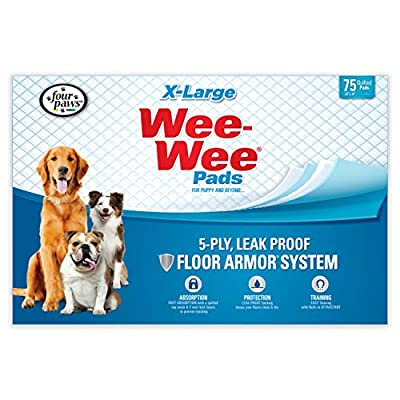"Wee-Wee Puppy Training Pee Pads 75-Count 28"" x 34"" X-Large Size Pads for Dogs"