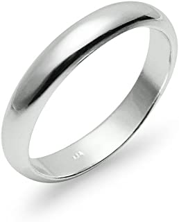 925 Sterling Silver 4mm High Polished Plain Dome Comfort Fit Wedding Band Ring | Sizes 5-14 | Colors Available