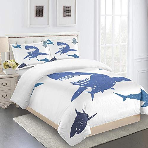 MJDPDM revestimientos de Cama 220x 240cm Dibujos Animados tiburón Blanco El Juego de Funda nórdica de Microfibra de poliéster Incluye 1 Funda nórdica y 2 Fundas de Almohada