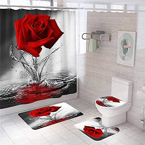 4 Pcs Teal Red Rose Shower Curtain Sets with Non-Slip Rug, Toilet Lid Cover and Bath Mat, Red Rose Shower Curtain with 12 Hooks, Raindrops Shower Curtain for Bathroom