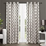 Exclusive Home Curtains EH8049-02 2-96G Modo Metallic Geometric Window Curtain Panel Pair with Grommet Top, 54x96, Natural, 2 Piece